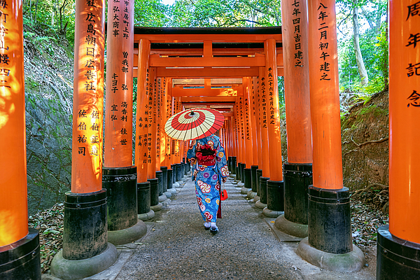The Inari Shrine in Kyoto is one of the most famous shrines in Japan.